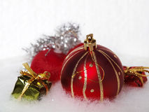 Christmas decoration. Christmas ornaments over a white background Stock Image
