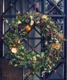 Christmas decoration outside the house door. Creative xmas wreat stock photo