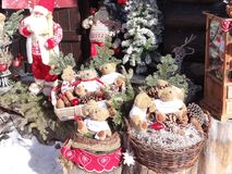 Christmas decoration outside a rustic alpine restaurant Stock Image