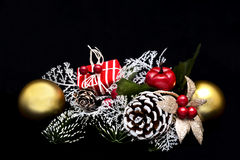 Christmas decoration. Over a black background Stock Images