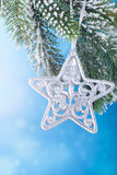 Christmas decoration over blue background Royalty Free Stock Photos