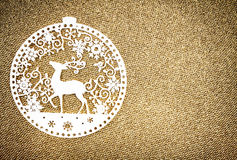 Christmas decoration over glittering golden background.  Vintage Stock Image