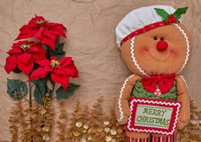 Christmas decoration over a kraft paper background royalty free stock images