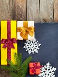 Christmas decoration over old wooden background. Royalty Free Stock Image