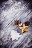Christmas decoration over old wooden background. Stock Photo