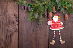 Christmas Decoration over old Wooden Background Royalty Free Stock Photo