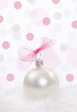 Christmas decoration over polka dots background Stock Photography