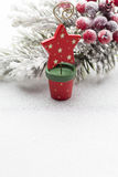 Christmas decoration over silver background. Stock Image