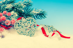 Christmas decoration over snow Stock Image