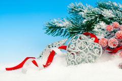 Christmas decoration over snow Royalty Free Stock Image