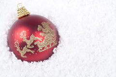 Christmas decoration over white snow Stock Photo