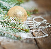 Christmas Decoration Over Wooden Background. Stock Images