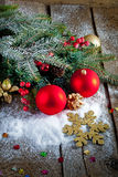 Christmas Decoration Over Wooden Background. Stock Photos