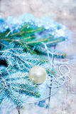 Christmas Decoration Over Wooden Background. Royalty Free Stock Image