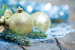 Christmas Decoration Over Wooden Background. Stock Photography