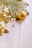 Christmas Decoration Over Wooden Background. Royalty Free Stock Photography