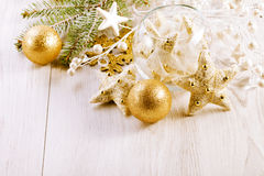 Christmas Decoration Over Wooden Background. Royalty Free Stock Photo
