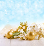 Christmas Decoration Over Wooden Background. Stock Image