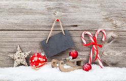 Christmas decoration. Over wooden background Royalty Free Stock Photos