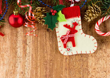 Christmas Decoration Over Wooden Background Stock Photography