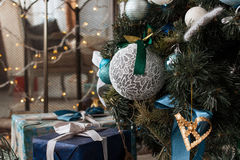 Christmas Decoration Over Wooden Background Stock Images
