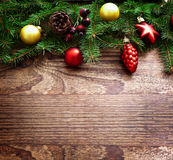 Christmas Decoration Over Wooden Background. Decorations Vintage stock photo