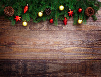 Christmas Decoration Over Wooden Background. Decorations Vintage Stock Image