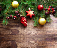 Christmas Decoration Over Wooden Background. Decorations Vintage Royalty Free Stock Photography