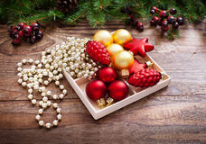 Christmas Decoration Over Wooden Background. Decorations Vintage Royalty Free Stock Photo