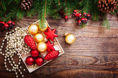 Christmas Decoration Over Wooden Background. Decorations Vintage Stock Images