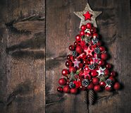 Christmas Decoration Over Wooden Background. Decorations over Wood. Vintage stock image