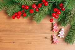 Christmas decoration over wooden background Royalty Free Stock Image