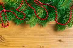 Christmas decoration over wooden background Royalty Free Stock Photos