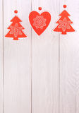 Christmas decoration  over wooden background Royalty Free Stock Images