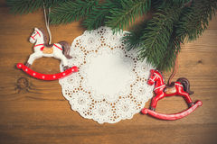 Christmas decoration over wooden background Stock Image