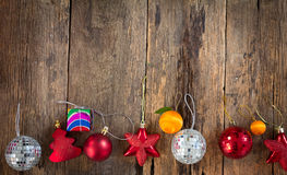 Christmas Decoration Over Wooden Background. Royalty Free Stock Images