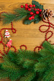Christmas decoration over wooden background Stock Photo