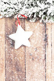 Christmas Decoration Over Wooden Background. Vintage Christmas C Royalty Free Stock Images