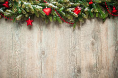 Christmas decoration over wooden background. Vintage christmas decoration over old wooden background Stock Photos