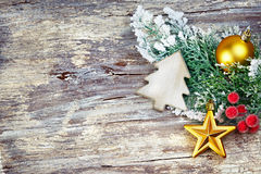 Christmas decoration over wooden background. Vintage style. Stock Images