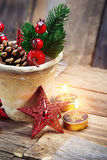 Christmas decoration over wooden background. Vintage style. Stock Image