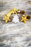 Christmas decoration over wooden background. Vintage style. Royalty Free Stock Images