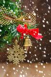 Christmas Decoration Over Wooden Stock Photos