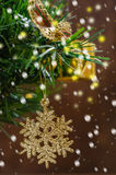 Christmas Decoration Over Wooden Stock Image