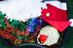 Christmas decoration packing in guitar bag stock photos