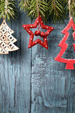 Christmas decoration on  painted background Royalty Free Stock Photo