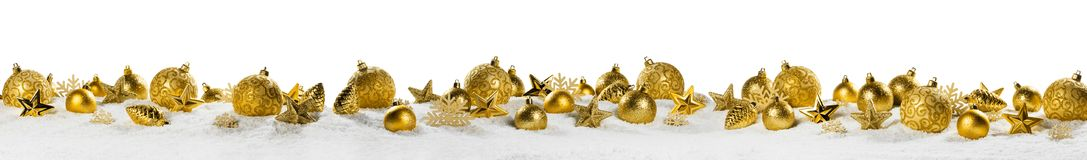 Christmas decoration panorama on white royalty free stock photo