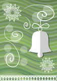 Christmas decoration with paper cut xmas symbols on green wavy background, christmas bell and lace stars Royalty Free Stock Photos