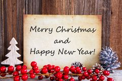 Christmas Decoration, Paper With Merry Christmas And Happy New Year