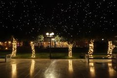 Christmas decoration in park stock photo